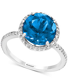 Final Call by EFFY® Blue Topaz (4-1/8 ct. t.w.) & Diamond (1/4 ct. t.w.) Ring in Sterling Silver