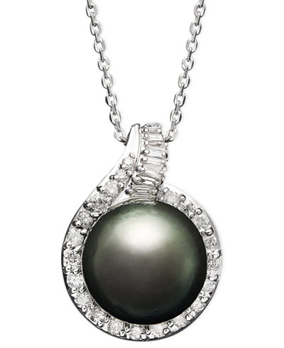 14k White Gold Necklace, Cultured Tahitian Pearl (12mm) and Diamond (1/2 ct. t.w.) Pendant