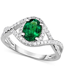 Emerald (1-1/10 ct. t.w.) and Diamond (1/3 ct. t.w.) Ring in 14k White Gold