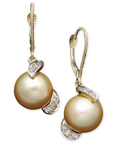 14k Gold Earrings, Cultured Golden South Sea Pearl (9mm) and Diamond (1/5 ct. t.w.) Drop Earrings