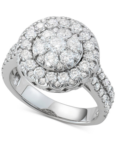 Diamond Halo Cluster Engagement Ring (2 ct. t.w.) in 14k White Gold