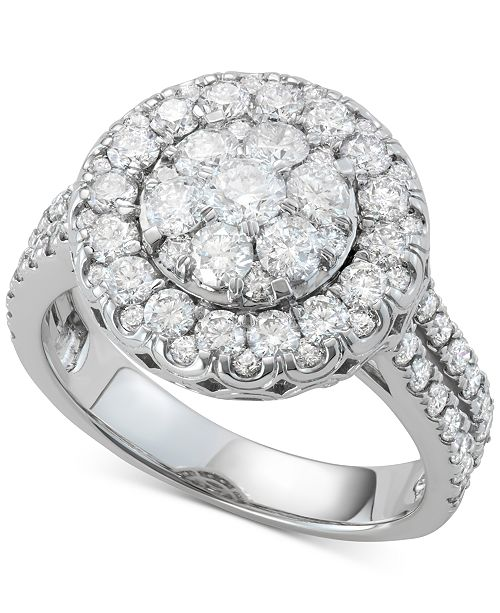 Macy's Diamond Halo Cluster Engagement Ring (2 ct. t.w.) in 14k White Gold