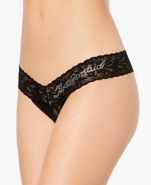 Hanky Panky Bridesmaid Low-Rise Sheer Lace Rhinestone Thong 491031
