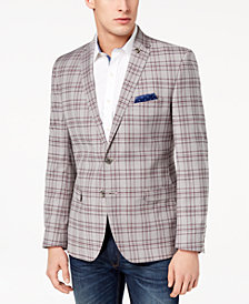 Nick Graham Men's Slim-Fit Stretch Gray/Burgundy Plaid Sport Coat
