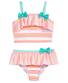 Penelope Mack 2-Pc. Striped Bows Bikini Swimsuit, Little Girls