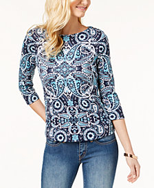 Charter Club Button-Shoulder Print Top In Regular & Petite Sizes, Created  for Macy's