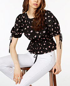 Jill Jill Stuart Smocked Tie-Waist Peasant Top, Created for Macy's