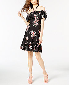 Jill Jill Stuart Floral-Print Off-The-Shoulder Dress, Created for Macy's
