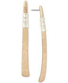 Robert Lee Morris Soho Two-Tone Wire-Wrapped Stick Linear Drop Earrings