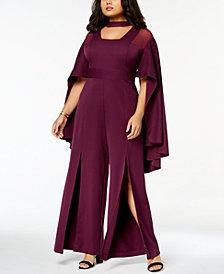 Monif C. Trendy Plus Size Cape-Sleeve Jumpsuit