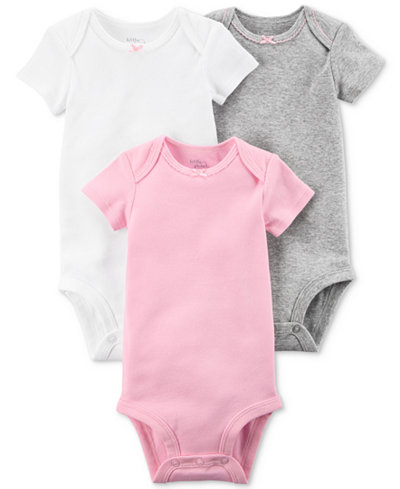 Carters Little Planet Organics 3-Pack Assorted Solid Cotton Bodysuits, Baby Girls