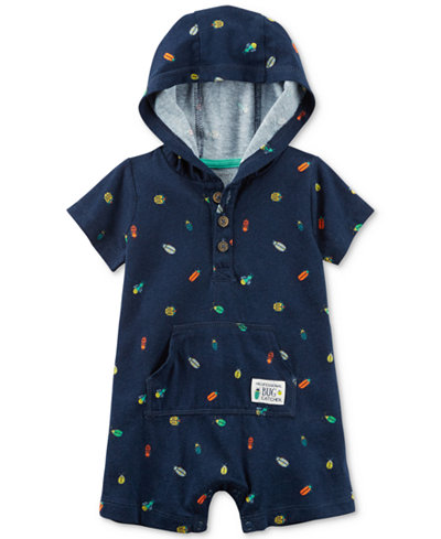 Carter's Bug-Print Hooded Cotton Romper, Baby Boys