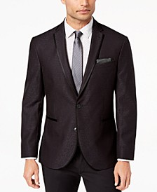 Men's Slim-Fit Stretch Black Jacquard Dinner Jacket, Online Only
