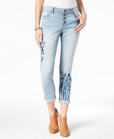 Black Daisy Juniors' Jamie Best Friend Embroidered Boyfriend Jeans