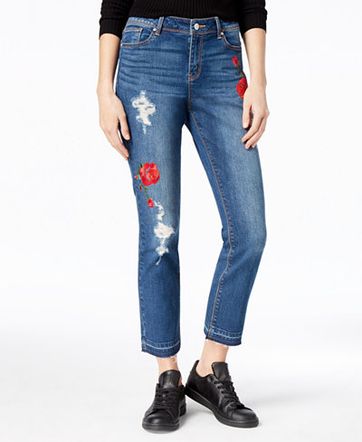 Black Daisy Juniors' Ripped Embroidered Jeans