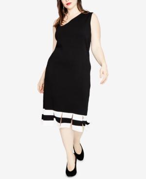Rachel Roy TRENDY PLUS SIZE CARWASH-HEM SWEATER DRESS, CREATED FOR MACY'S