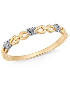 Charter Club Two-Tone Crystal Infinity Knot Bangle Bracelet, Created for Macy's