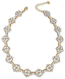 """Gold-Tone Crystal Necklace, 17"""" + 2"""" Extender, Created for Macy's"""