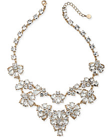 """Gold-Tone Dramatic Crystal Necklace, 17"""" + 2"""" Extender, Created for Macy's"""