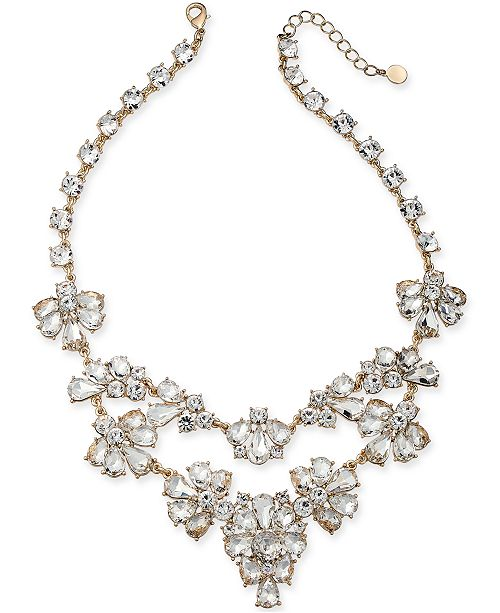 """Charter Club Gold-Tone Dramatic Crystal Necklace, 17"""" + 2"""" Extender, Created for Macy's"""