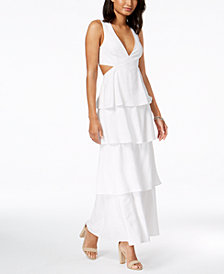 Bardot Cutout Ruffle Tiered Maxi Dress