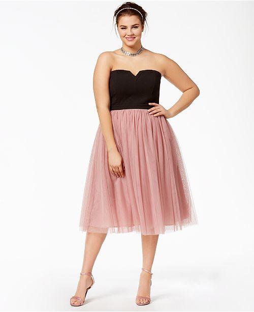 City Chic Trendy Plus Size Strapless Tulle Dress Dresses Plus
