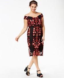 City Chic Trendy Plus Size Off-The-Shoulder Embroidered Dress