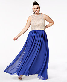 Say Yes To The Prom Trendy Plus Size Beaded Gown, Created for Macy's