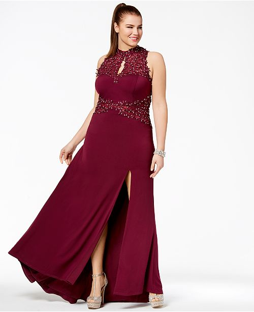 City Studios Trendy Plus Size Beaded Open-Back Gown ...