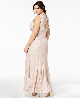 Morgan Company Trendy Plus Size Glitter Lace Gown Dresses Plus