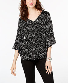 Alfani Lace Bell-Sleeve Top, Created for Macy's