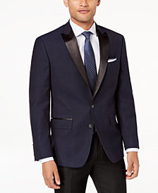 Ryan Seacrest Distinction™ Men's Modern-Fit Stretch Blue Black Neat Dinner Jacket, Created for Macy's
