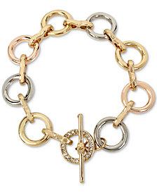 Kenneth Cole New York Tri-Tone Pavé Link Toggle Bracelet