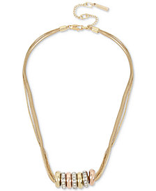 Kenneth Cole New York Tri-Tone Pavé Bead Multi-Row Necklace