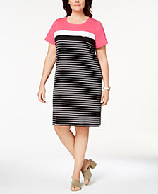 Karen Scott Plus Size Striped Shift Dress, Created for Macy's