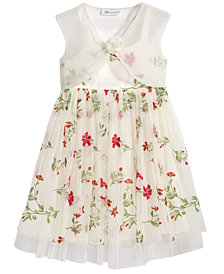 Bonnie Jean 2-Pc. Floral-Embroidered Dress & Organza Shrug Set, Little Girls