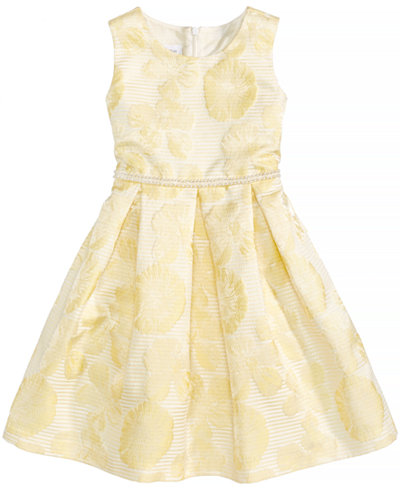 Bonnie Jean Pearl-Trim Floral Jacquard Dress, Toddler Girls