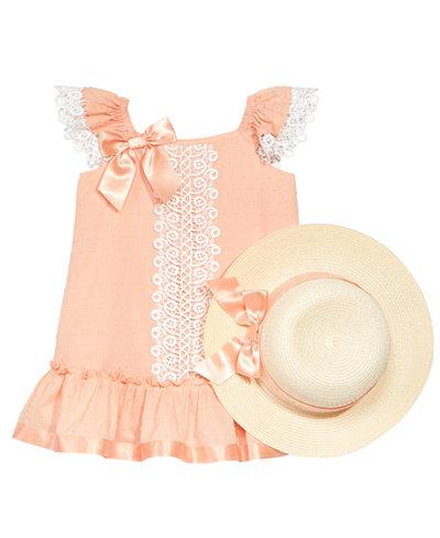 Bonnie Jean 2-Pc. Lace-Trim Shift Dress & Hat Set, Toddler Girls