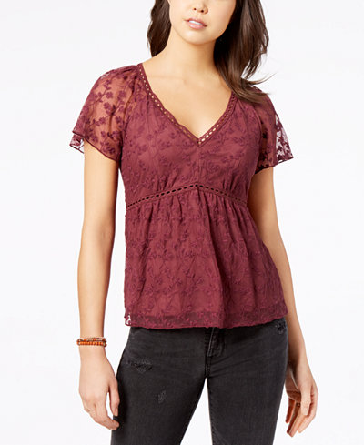 American Rag Juniors' Embroidered Lace Babydoll Top, Created for Macy's