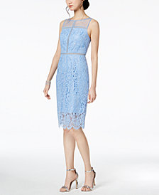 Adrianna Papell Metallic-Lace Illusion Dress