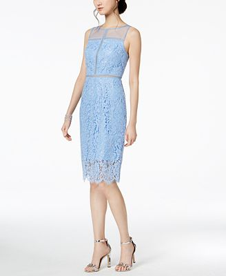 Adrianna Papell Metallic Lace Illusion Dress Dresses Women Macy S