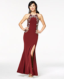 Speechless Juniors' Crystal-Embellished Strappy-Back Gown