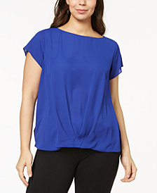 I.N.C. Plus Size Mixed-Media Twist-Front Top, Created for Macy's
