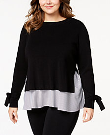 I.N.C. Plus Size Layered-Look Sweater, Created for Macy's