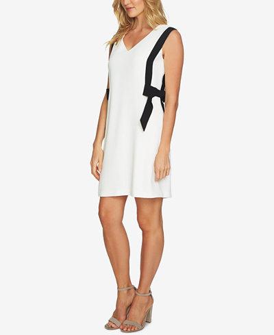 CeCe Sleeveless Bow-Trim Shift Dress