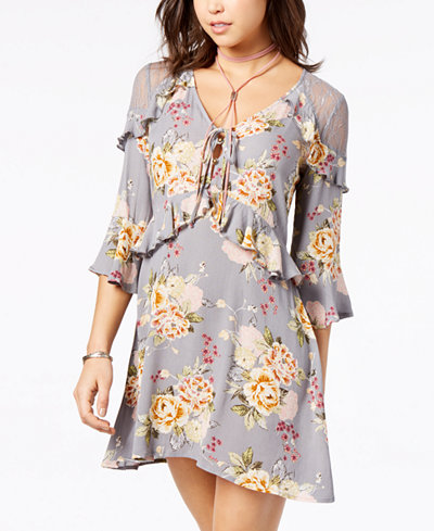 American Rag Juniors' Floral-Print Ruffled Dress, Created for Macy's