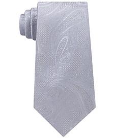 Men's Satin Texture Paisley Silk Tie