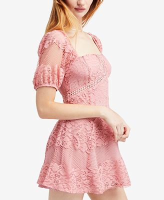 Be Your Baby Lace Mini Dress - Pink Free People