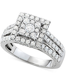 Diamond Square Halo Cluster Engagement Ring (1-1/2 ct. tw.) in 14k White Gold