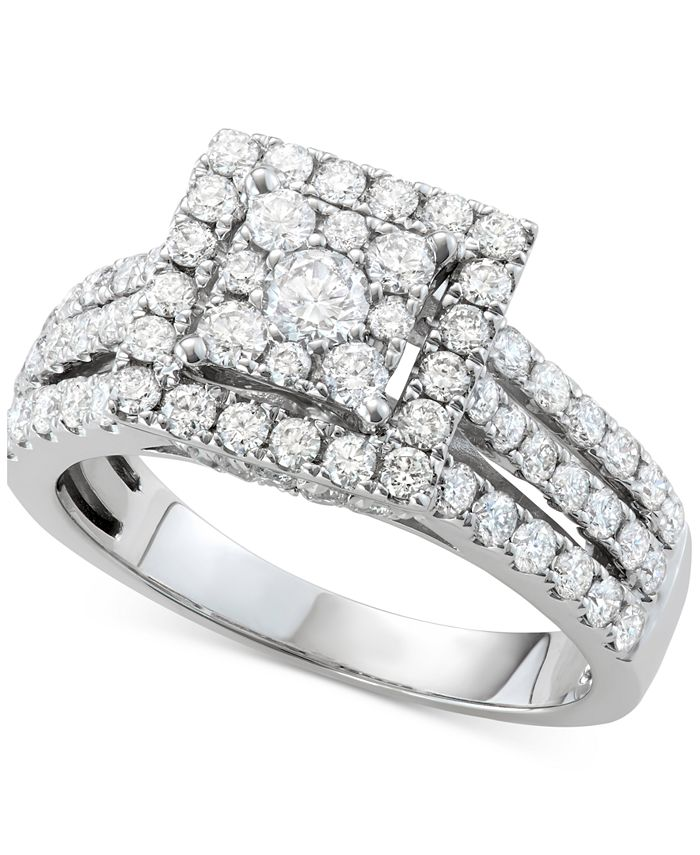 Centennial - Diamond Square Halo Cluster Engagement Ring (1-1/2 ct. tw.) in 14k White Gold